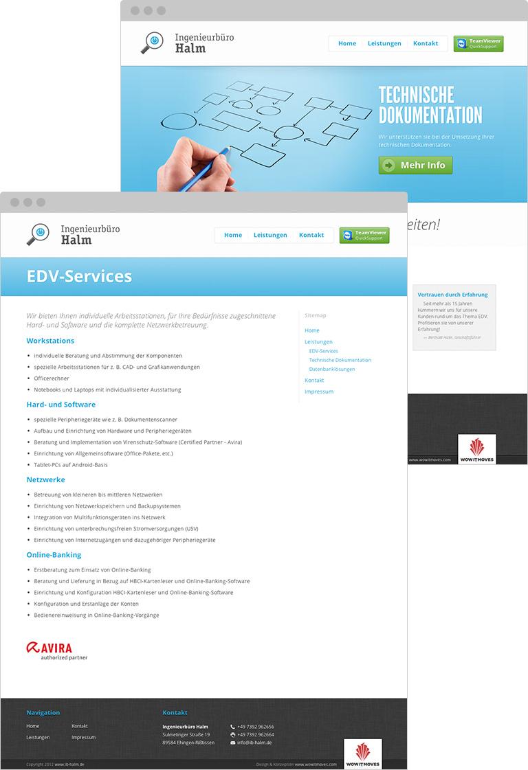 Webauftritt Ingenieurbüro Halm